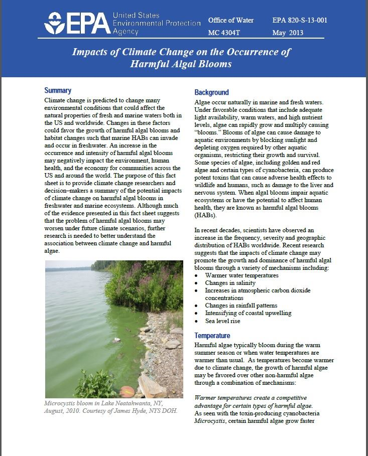 climate Change and Harmful Algal Blooms (USEPA)